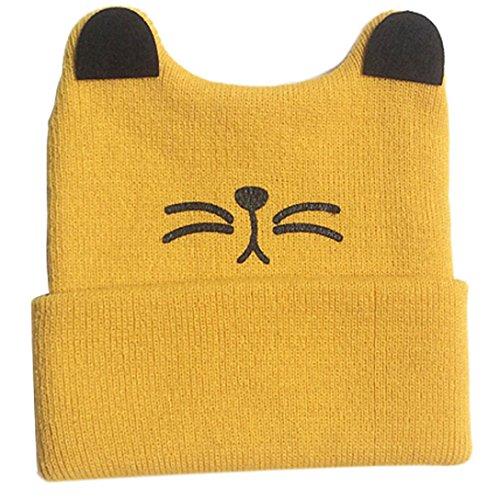 familizo-kids-knitted-crochet-cat-ear-beanie-winter-warm-hat-cap-amarillo