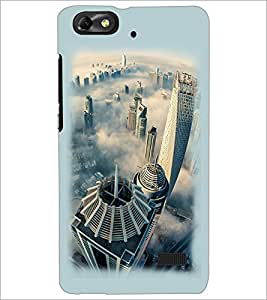 PrintDhaba Bulding View D-2110 Back Case Cover for HUAWEI HONOR 4C (Multi-Coloured)