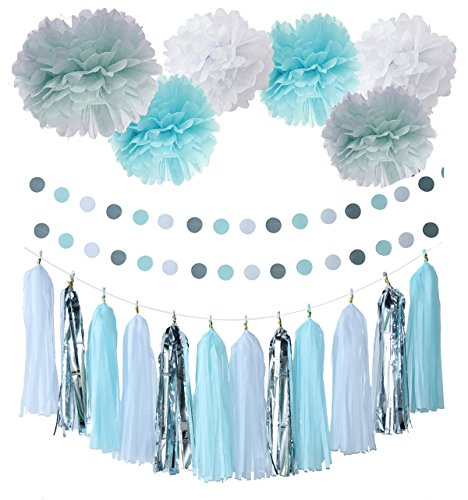20pcs Baby Blue White Grey Baby Boy Baby Shower/Party Paper Decorations First Birthday Boy Decorations Tissue Paper Pom Pom Tassel Garland Circle Paper Garland Baby Shower Decorations Boy (Baby Shower Themes compare prices)