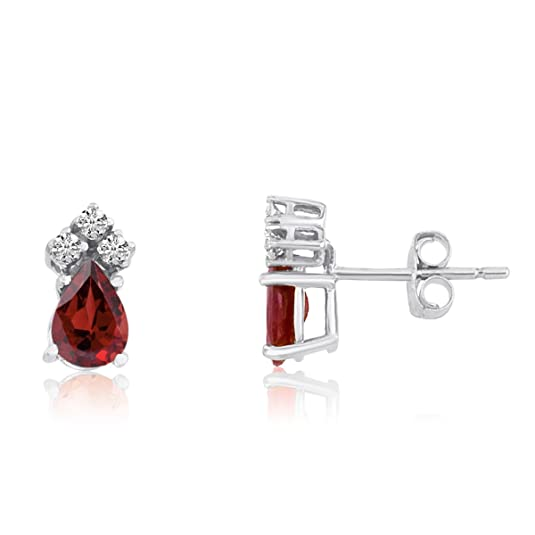 14k White Gold Garnet Pear Earrings with Diamonds