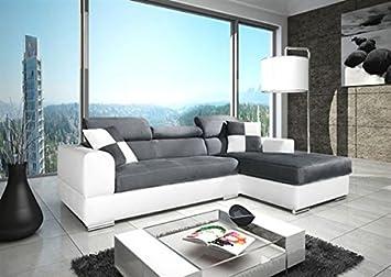 Canapé d'angle NETO / madrid design en microfibre et simili cuir gris et blanc