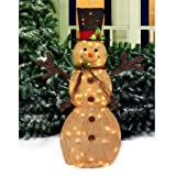 """Holiday Time 48"""" Sparking Burlap Snowman with Black Hat Light Sculpture"""