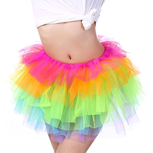 Anleolife Girl Women Adult Rainbow Tutu Skirts (13.5''/34cm 1pcs)