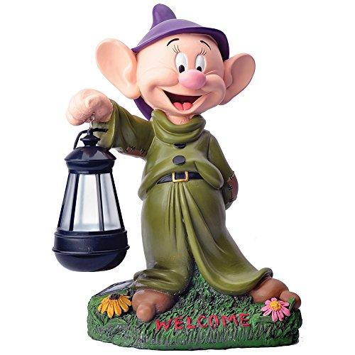 Disney Snow White's Dopey Dwarf With Lantern Solar Light Garden Figure