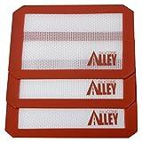 Silicone Alley, 3 Non-stick Silicone Mat Pad, Small Rectangle 5 X 4 Inch, Red