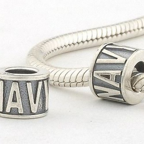 Taotaohas-(1Pc) Oxidized Antique 100% Solid Sterling 925 Silver Alphabet And Number Charm Beads, [ Name: Letter Navy ], Fit European Bracelets Necklaces Chains, Troll, Biagi Glass Charm Beads