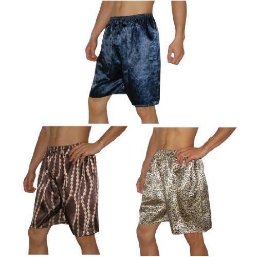 3 PACK: SILK COUTURE Mens Sleepwear - Silk Boxer Shorts / Pajama Lounge Shorts