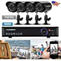 FLOUREON 4CH Surveillance Security Camera System 960H HDMI DVR with 4 Night Vision IR Camera 700TVL Built-in Waterproof LED High Resolution Outdoor CCTV Security Cameras