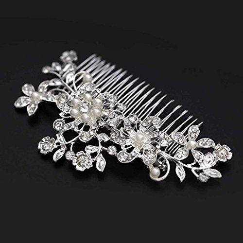 HuntGold 1X Women Wedding Bridal Rhinestone Flower Hair Comb Claw Hairpin Hair Ornaments Accessory(silver)