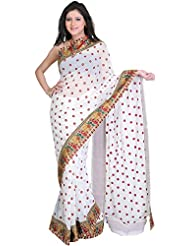 Exotic India Bright-White Georgette Saree With Embroidered Bootis And Pa - White