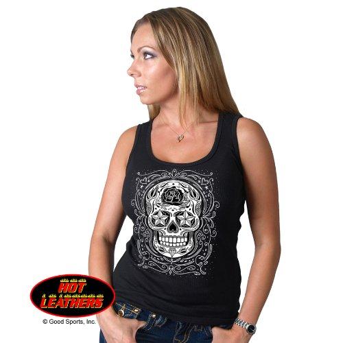 Hot Leathers Ladies Sugar Skull Boy Beater Black Ribbed Tank Top Medium