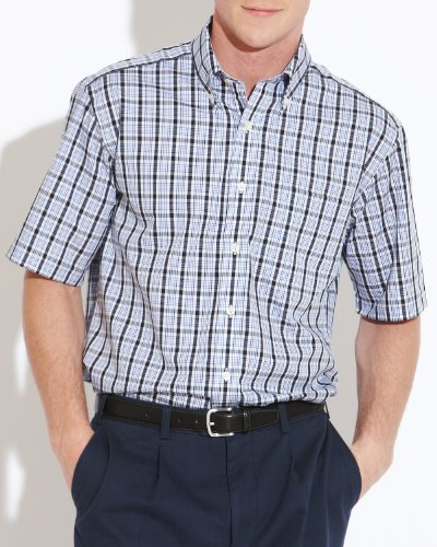 Savile Row Men's White Blue Navy Check Buttondown Collar Short Sleeved Casual Shirt Size X-Large