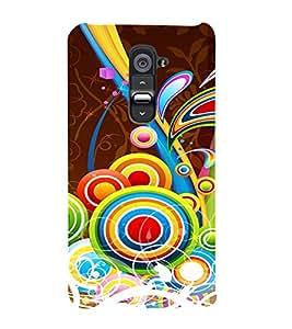 Multicolor Circular Pattern 3D Hard Polycarbonate Designer Back Case Cover for LG G2 :: LG G2 D800 D980