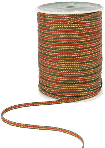 May Arts 1/8-Inch Wide Ribbon, Red and Green Stripe