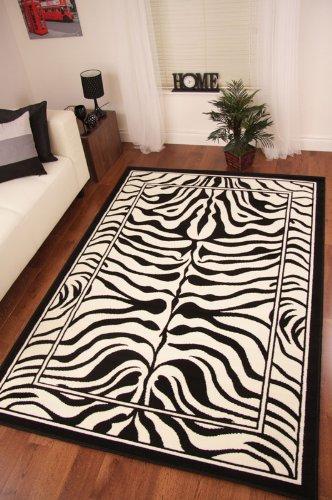 Safari Animal Black  &  White Zebra Stripe Print Rug 190cm x 280cm (6ft 3