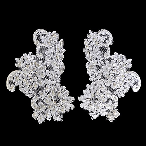 """Altotux 7.5"""" x 4"""" White Bridal Handsewn Beaded Embroidery Motif Applique by Pair"""