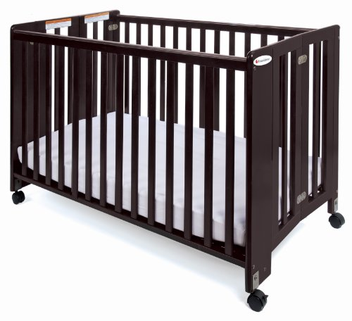 Foundations Full Size HideAway Nursery Folding Fixed Side Crib, Cherry - 1