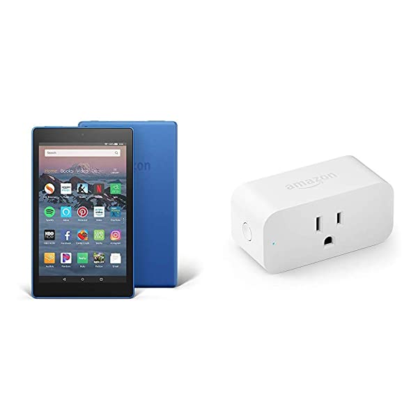 Fire HD 8 Tablet (8 HD Display, 32 GB, Blue) with Amazon Smart Plug (Color: Marine Blue)