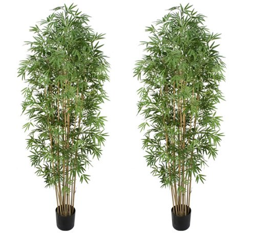 TWO Pre-potted 7′ Artificial Bamboo Trees with Real Bamboo Trunks