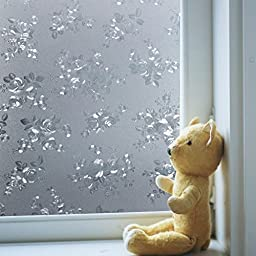 Coavas Non-Adhesive Beautiful Flower Frosted Privacy Glass Film For Glass Door/Mall Glass Wall /kitchen/Bath room/Sitting Room/Privacy Window,Avoid Glass Burst,(17.7-Inch by 78.7-Inch)