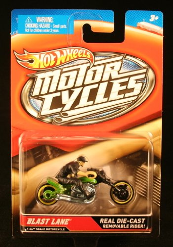 BLAST LANE (Green & Black) * MOTORCYCLE & RIDER * Hot Wheels 1:64 Scale 2012 Die-Cast Vehicle