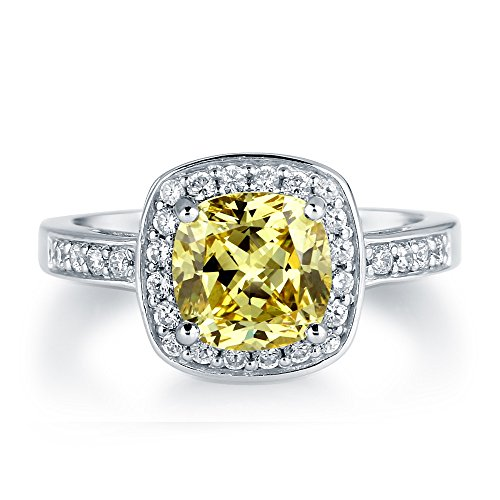 Berricle Cushion Cut Canary Cz 925 Silver Halo Engagement Wedding Ring Band 2.04 Ct.Tw Size 6