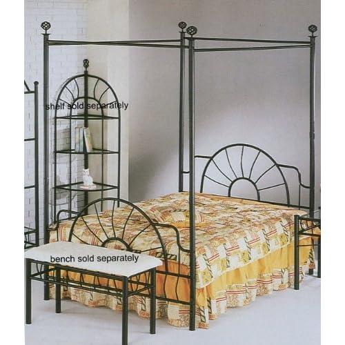 "Black ""sunburst"" Design Queen Size Canopy Bed Headboard Footboard Canopy"