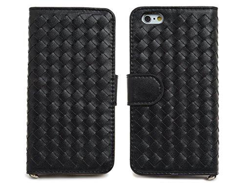 High Society [ Intrecciato ] - iPhone6 iPhone6s 4.7 インチ ケース 手帳型 シンプル 機能美  カード収納 スタンド機能 ストラップ 良質なPUレザー ♪ (iPhone6/6s, ブラック)
