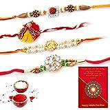 #9: Traditional Villa Handcrafted Work Special 4 Pc Rakhi Gift For Brothers Rakhi For Bhaiya Bhabhi And Rakhi For Bhaiya Bhabhi Combo And Rakhi Gifts For Brother Rakhi Set Free Shipping+Roli+Chawal+Greeting Card !!-4Rgs180