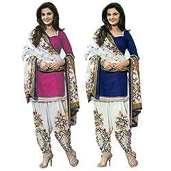 Janasya Women's Unstitched Polyester Dress Material COmbo (Pink & Blue)