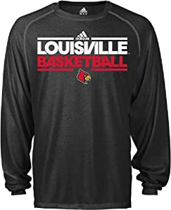 Louisville Cardinals Heather Black Dribbler Long Sleeve Climalite Basketball Practice... by adidas