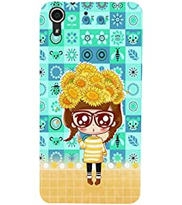 PrintDhaba Big Specs Doll D-3163 Back Case Cover for HTC DESIRE 728 (Multi-Coloured)
