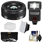 Panasonic-Lumix-G-Vario-20mm-f17-II-ASPH-Lens-Black-with-3-Filters-Flash-2-Diffusers-Kit-for-G7-GF7-GH3-GH4-GM1-GM5-GX7-GX8-Camera