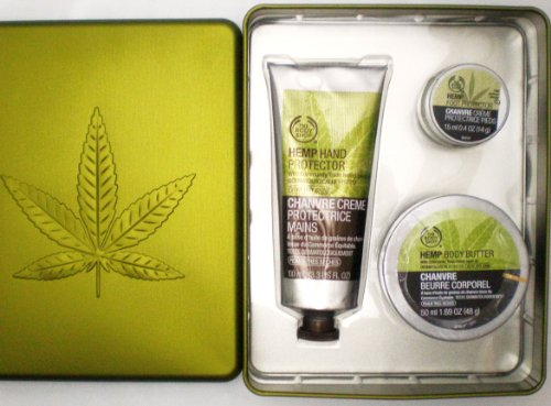 The Body Shop Hemp Trio Gift Set Includes Hemp Hand Protector, Hemp Body Butter, Hemp Foot Protector and Tin Gift Box