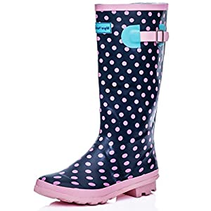 KNEE HIGH FLAT WELLY RAIN BOOTS PINK RUBBER SZ 7