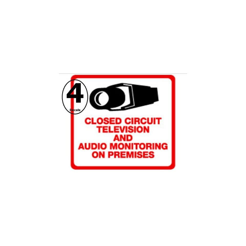 Security Decal   #205 4 Pack Video & Audio CCTV Security Surveillance Camera System Warning Decals Stickers   Commercial Grade . Increase Security whether you have a system or not, no one will know but you