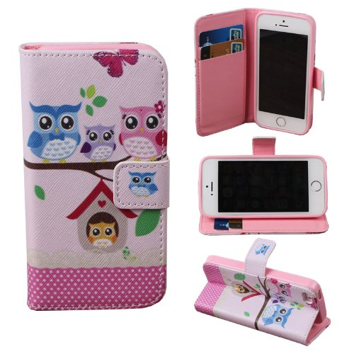 Teenitor(Tm) Cute Owl Family Credit Card Wallet Flip Leather Case (Soft Tpu Inner) For Iphone 5, 5S + Screen Protector + Stylu + Fish Earphone Cable Organizer