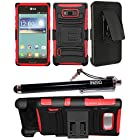 2-in-1 Bundle Combo SOGA® Black On Red Hybrid Dual Layer Heavy Duty Armor Combat Case Cover With Belt Clip Holster Kickstand For LG Optimus Showtime L86C L86G Straight Talk / LG Splendor Venice US730 U.S. Cellular