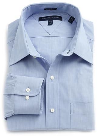 Tommy Hilfiger Men's Textured Solid Dress Shirt, Blue, 16.5 36-37