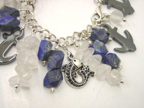 Chic Wrists Blue Chunky Stones, Quart Stones, Hematite Anchors, Metal Koi Fish Bold Bracelet with FREE Earrings