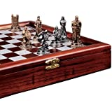 Design Toscano The Knights Mortal Conflict Chess Set, Pewter