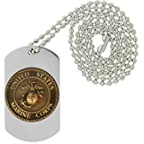 Marine USMC Globe and Anchor with Eagle Emblem - Military Dog Tag, Luggage Tag Metal Chain Necklace