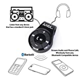 Jumbl™ Bluetooth Hands-Free Calling & A2DP Audio Streaming Adapter/Receiver for 3.5mm Devices - Converts Wired 3.5mm Headphones into Wireless Music Streaming Stereo Earphones - w/Built-In Mic - Black