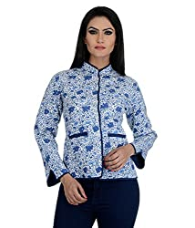 Aarohee Women's Block Printed Cotton Quilted Jacket (AAC37_White_X Small)