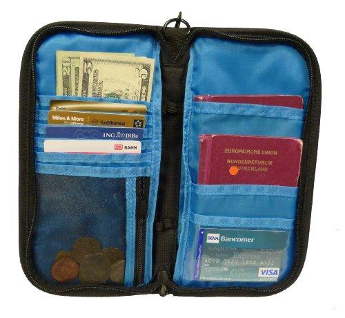 Reisedokumententasche - Caribee Document Wallet - mit Münzfach, Stifthalter und Kreditkartenfach bzw. Flugticketfach, Farbe: Schwarz