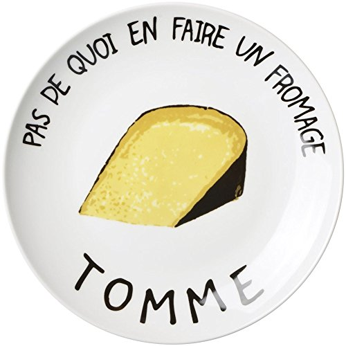 Assiettes à fromage Pas de quoi en faire un fromage Coffret de 6 assorties Porcelaine Blanc et motifs La chaise longue 35-2K-700