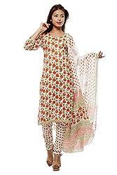 Pinkshink Pure Cotton Orange Dress Material g01
