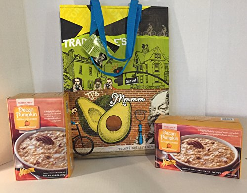 2 Trader Joe's Pumpkin Pecan Instant Oatmeal and A Bonus Free TJ's Reusable Grocery Tote With Southern California Graphics + a Free Organic Sweet Coffee Recipe from Z-Organics (3 Items+ Bonus) (Trader Joes Truffle Salt compare prices)
