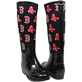 MLB Cuce Shoes Boston Red Sox Womens Enthusiast II Rain Boots - Black (6)
