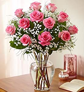 1800Flowers – Rose Elegance Premium Long Stem Roses – One Dozen Pink Roses